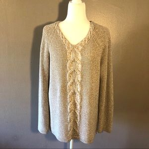 Talbots Marled Knit Sweater with side zips